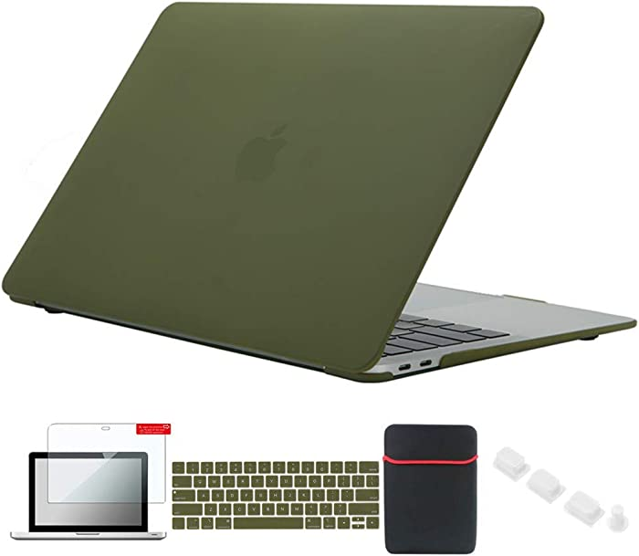 Se7enline MacBook Pro Case 15 inch 2016-2019 Soft-Touch Matte Plastic Hard Cover for MacBook Pro Retina 15 A1707/A1990 Touch Bar with Sleeve, Keyboard Skin, Screen Protector, Dust Plug, Avocado Green