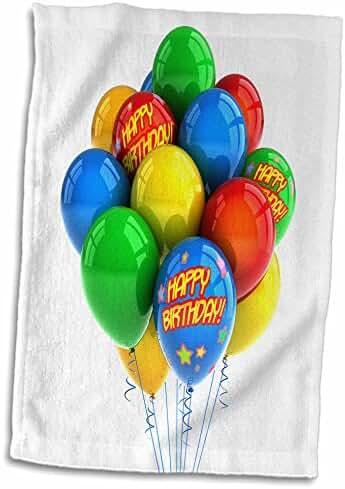 3dRose Carsten Reisinger Illustrations - Colorful party balloons happy birthday - 12x18 Hand Towel (twl_155016_1)