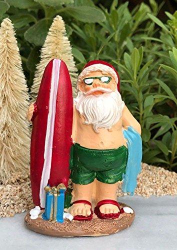 Miniature Dollhouse FAIRY GARDEN BEACH Sea CHRISTMAS Santa with Surf Board - Surfboards Nectar
