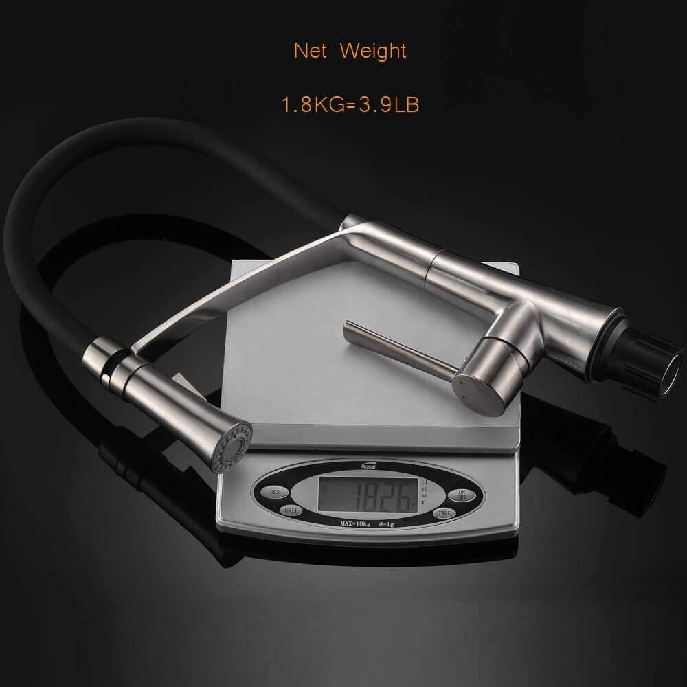 CREA K/üchenarmatur Edelstahl , Sp/ültischbatterie mit Schwenkbereich 360/° brause, Wasserhahn K/üche hoher Auslauf 195mm mit Duschkopf satine