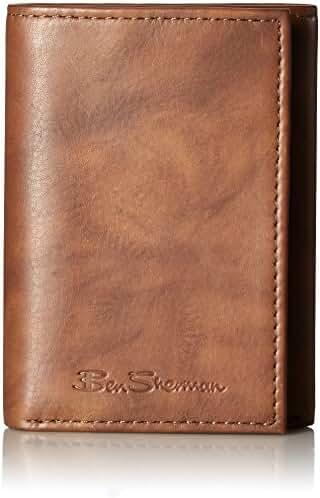 Ben Sherman Men's Manchester Full Grain Cowhide Marble Leather Trifold Wallet