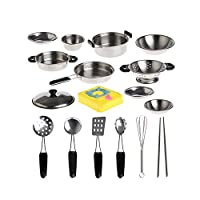 Wotryit 20Pcs Stainless Steel Pots Pans Cookware Miniature Toy Pretend Play Gift For Kid