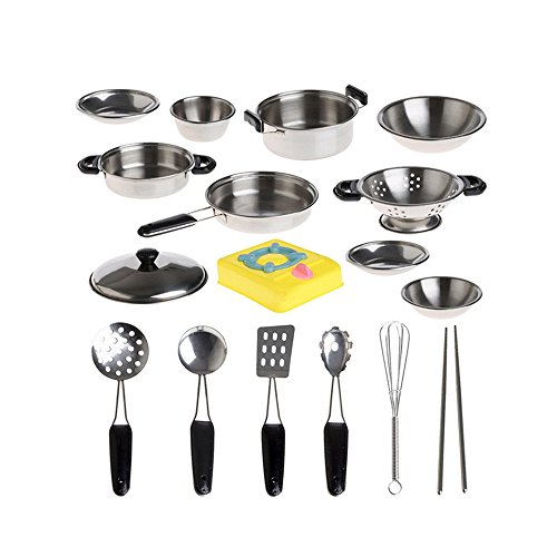 Orcbee  _20Pcs Stainless Steel Pots Pans Cookware Miniature Toy Pretend Play Gift for -