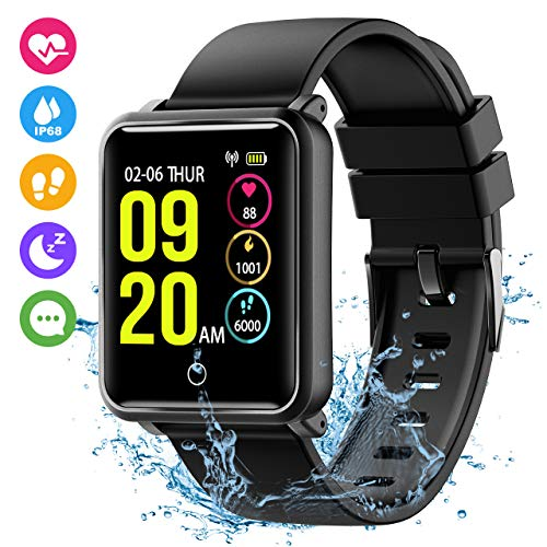Seneo Fitness Watch, Waterproof IP68 Fitness Trackers Colour Screen Smartwatch with Heart Rate Monitor Sleep Monitor Step Counter Tracker Call Remind Activity Trackers for Men/Women for Android iOS