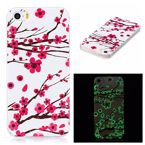 Custodia iPhone 5 5S SE , LH Fiore Plum Fluorescenza Silicone Morbido TPU Case Cover Custodie per Apple iPhone 5 5S SE