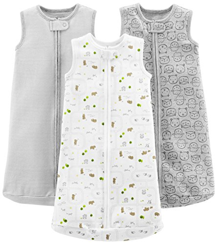 Simple Joys by Carter's Baby 3-Pack Cotton Sleeveless Sleepbag, Gray Stripes, Gray Animals Green, White, Medium: 6-9 Months, 12.5-21 Lbs (Girls Sleep Bag)