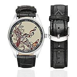 Hummingbirds Decorations Casual Leather Strap Watch,Flying Bird and Music Notes Clef Five Line Staff Musical Creative Artistic Ornate for Men,Case Diameter:1.57