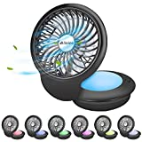 BicycleStore Desk Fan With Light USB Powered Table Fans Mini USB Fan 360 Degree Rotation Portable Personal Fan With Colorful Night Light for Office, Home, Outdoor, Powerful Wind, 3 Speed Setting