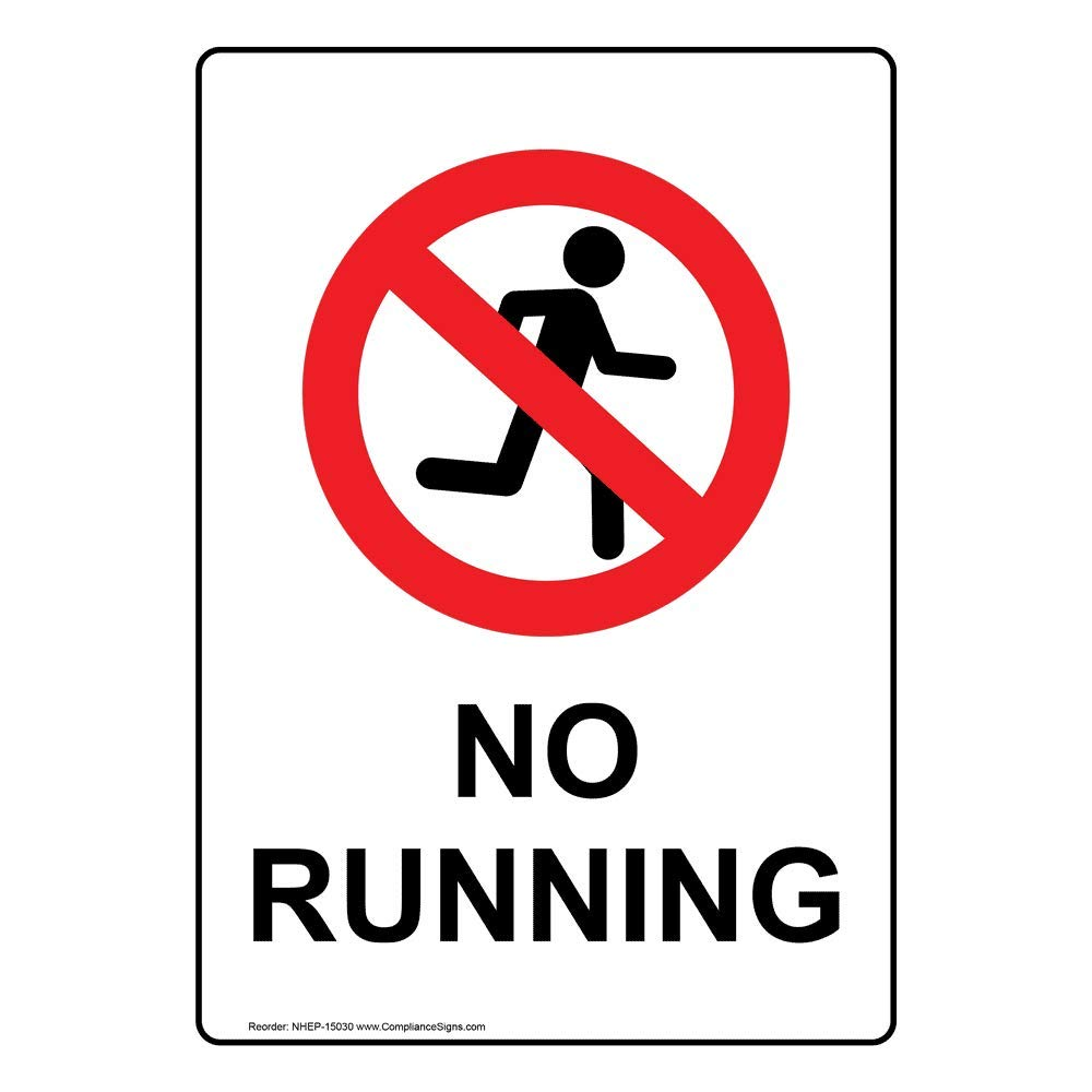 No Running Safety Sign, White 14x10 in. Aluminum for Recreation Facilities by ComplianceSigns by ComplianceSigns
