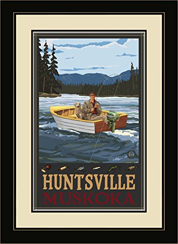 Northwest Art Mall Huntsville Muskoka Fisherman in Boat Hills Framed Wall Art by Paul A. Lanquist, 13 by - In Malls Huntsville