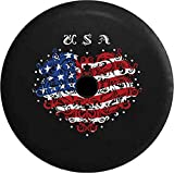 united states flag wheel cover - Pike Outdoors JL Series Spare Tire Cover Backup Camera Hole American Flag Artistisc Heart Love United States Black 32 in