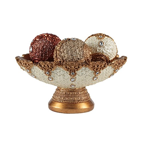 Eye-catching Decorative Bowl and Orb Set, includes Three Balls, Perfect Centerpiece, Fillers, Table Top Accent (Decorative Balls For Centerpieces)