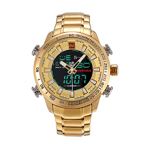 Men's Military Sport Watch 2 Time Zone Analog-Digital Japan Quartz 30M Waterproof Chronograph Calendar Multi-Function Wristwatches