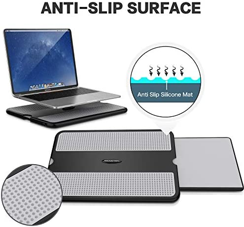AboveTEK Portable Laptop Lap Desk w/Retractable Left/Right Mouse Pad Tray, Non-Slip Heat Shield Tablet Notebook Computer Stand Table w/Sturdy Stable Cooler Work Surface for Bed Sofa Couch or Travel 511F9yt7BnL