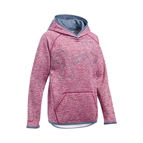 Jumbo Logo Hoody Sweatshirt - Under Armour Girls' Armour Fleece Novelty Jumbo Logo Hoodie, Black Cherry (702)/Aurora Purple, Youth Medium