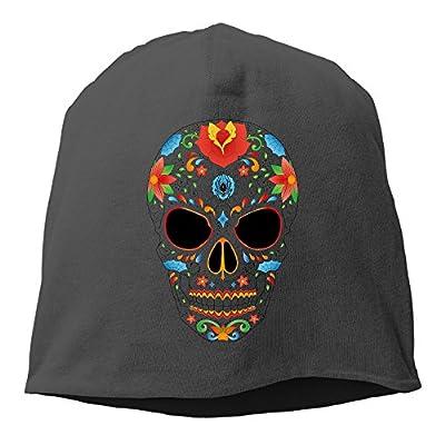 YUVIA Sugar Skull Men's&Women's Patch Beanie SkiingBlack Hats For Autumn And Winter