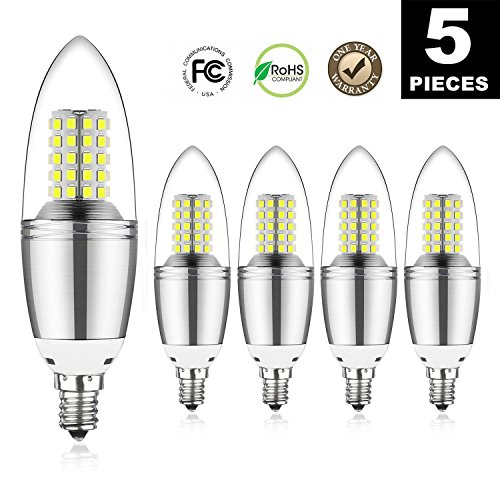 12W LED Candle Bulbs,LED Chandelier Bulb,12W Candelabra Light Bulbs,100Watt Equivalent Light Bulbs,6000K Daylight White,Decorative Candle Base E12,1200LM, Non-Dimmable LED Lamp,(Pack of - 5 Chandelier 100w Light Bulbs