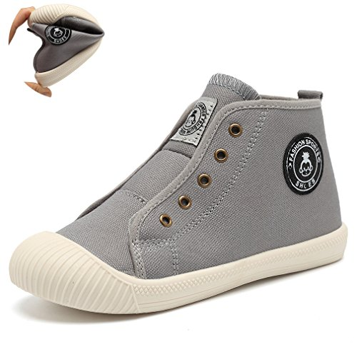 KEESKY Boy's and Girl's High Top Canvas Sneakers Casual Shoes Grey Little Kid Size 11