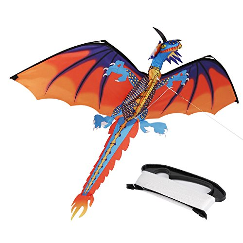 Zs Juyi 3D Dragon Kite 55Inch X 47Inch Classical Dragon Plaid Kite Single Line With Tail