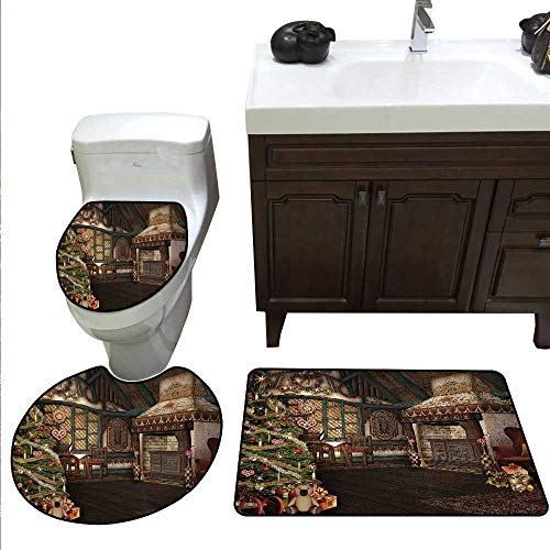 Christmas Bath Rug Set Inner View of a Xmas House Mistletoe Yuletide Winter Season Celebration Image Toilet Floor mat Set Taupe ()
