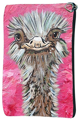 Pocket Ostrich - Ostrich Cosmetic Bag, Zip-top Closer - Taken From My Original Paintings, Santosha