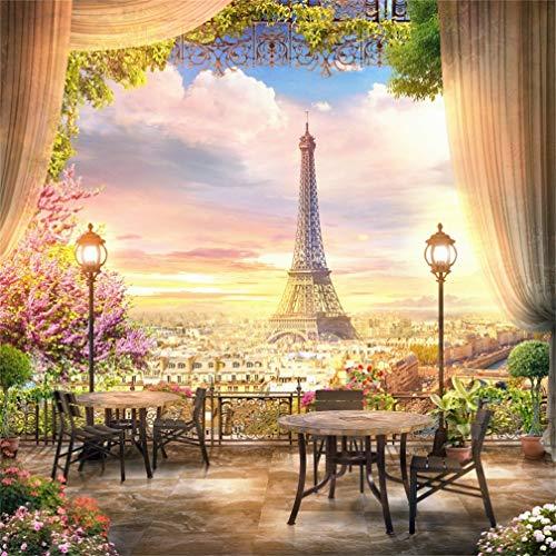 LFEEY 7x7ft French Dreamlike Paris Eiffel Tower Backdrop Balcony Curtain Flowers City View Photography Background Garden Tea Party Decoration Terrace Veranda Lamp Photo Booth Studio Prop Vinyl Banner]()