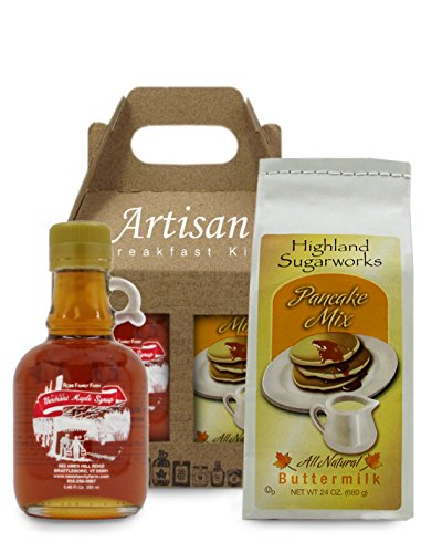 The Local Store's All Natural - Artisan Breakfast Kit 100% Pure Vermont Maple Syrup and All Natural Buttermilk Pancake Mix - Perfect for Breakfast in Bed This Thanksgiving or Christmas.