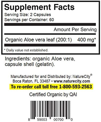 True-Aloe 40,000mg Gel Equivalent Per Capsule Made with Organic Aloe Vera 3