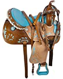 14 15 16 WESTERN LEATHER BLUE BARREL RACING RACER PLEASURE TRAIL HORSE SADDLE TACK PACKAGE