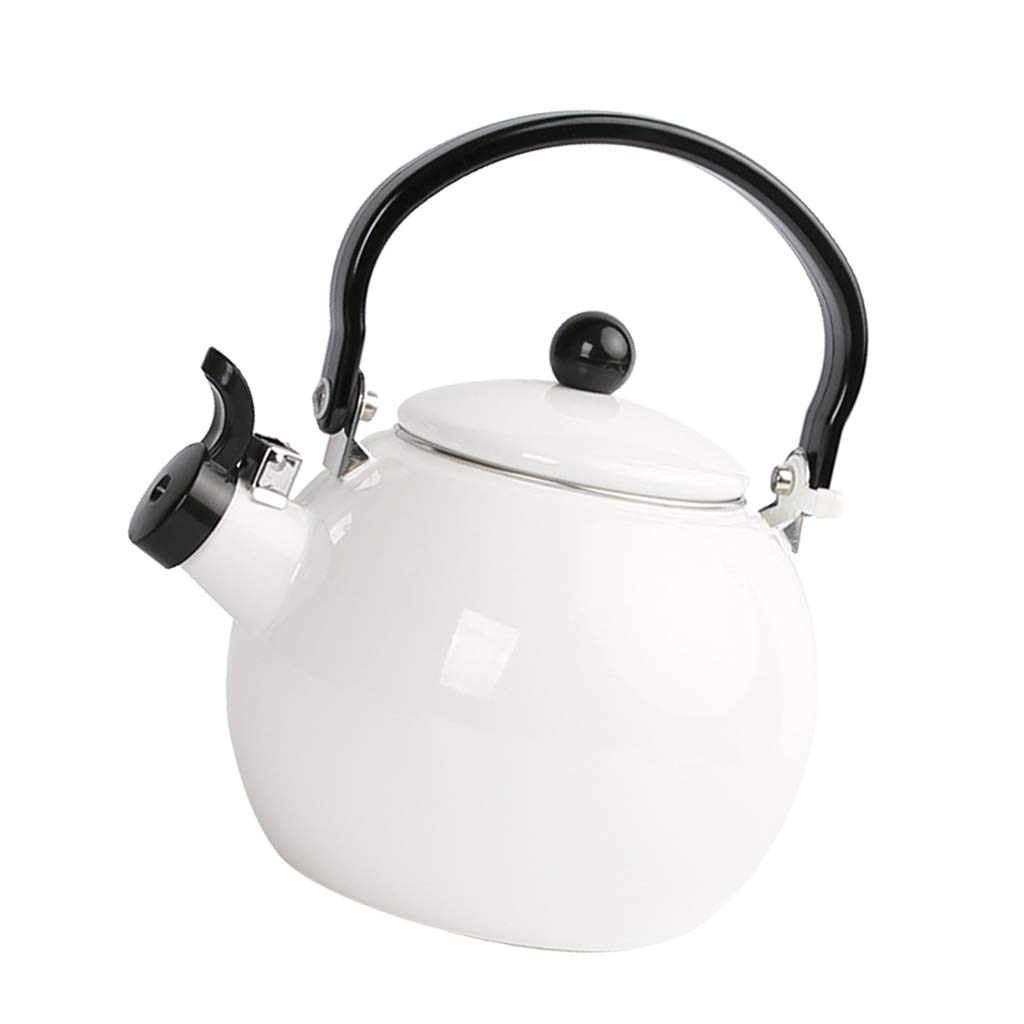 Prettyia Whistling Tea Kettle Gas Electric Induction Stovetop Teapot – 1.5L Quick Boiling, Rust Resistant, Enamel Whistle Stove Top Pot - White
