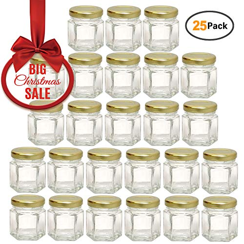 Woaiwo-q 1.5oz Hexagon Glass Jars 25 Pack (25,