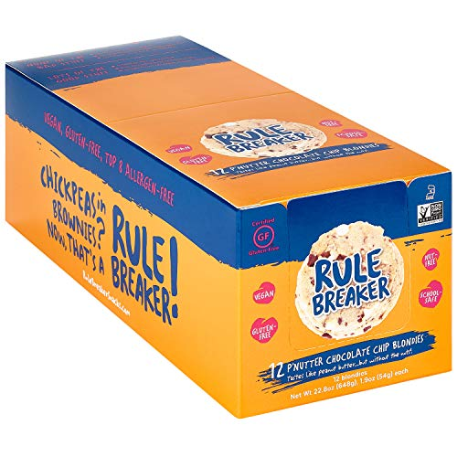 Rule Breaker Snacks, PNutter Chocolate Chip, Healthy and Unbelievably Delicious, Vegan, Gluten Free, Nut Free, Free from Top Eight Allergens, Kosher (12ct pack)