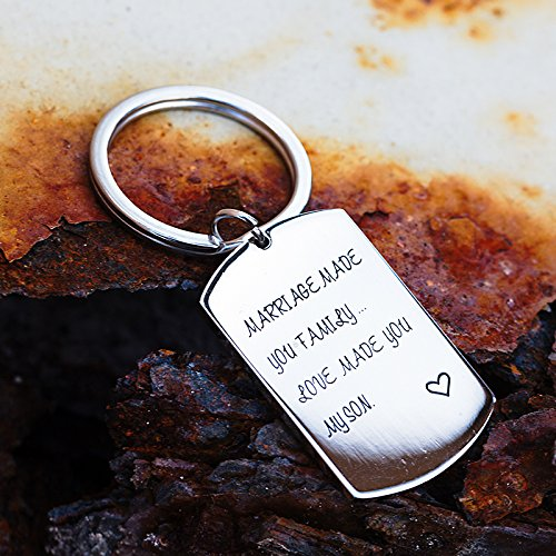 omodofo Marriage Made You My Family Love Made You My Son Wedding Party Gift Son In law Fathers Day Gift Keychain by omodofo (Image #3)