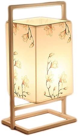 Lámparas de mesa de hierro simple lámpara de cabecera rectangular tela de la cortina de lámpara
