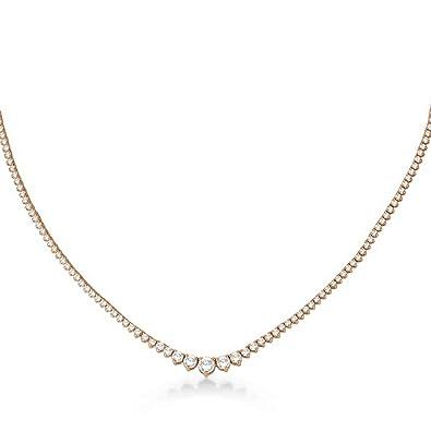 f3362552e Amazon.com: Graduated Eternity Diamond Tennis Necklace 18k Rose Gold  (5.25ct): Choker Necklaces: Jewelry