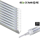 Brillihood T8 T12 Integrated LED Tube Light with Bracket, 40w 8 Foot, 6500K (Cool White), 4800 Lumens, Clear Cover, Fluorescent Replacement Lamp, Cooler Door Lighting Fixture, Pack of 10