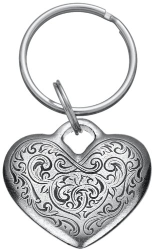 DANFORTH - Florentine Heart Keyring - 1 1/2 Inches - Pewter - Key Fob - Handcrafted - Made in USA - Heart Pewter Keychain