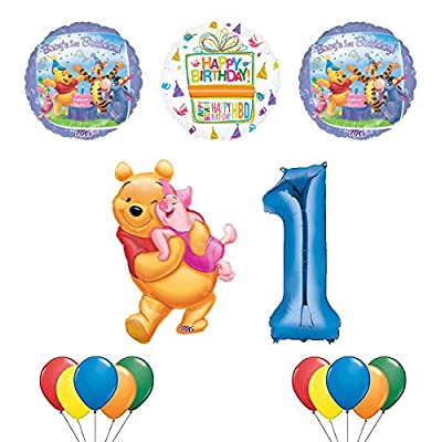 Mayflower Products Winnie The Pooh, Piglet and Friends 1st Birthday Party Supplies and Balloon Bouquet Decorations: Toys & Games