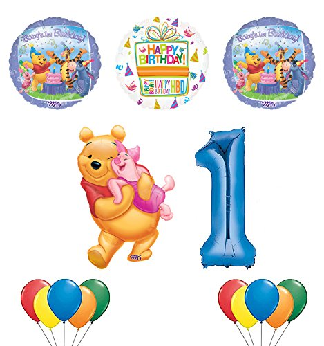 Mayflower Products Winnie the Pooh, Piglet and Friends 1st Birthday Party Supplies and Balloon Bouquet Decorations
