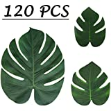 Moon Boat Tropical Palm Leaves Plant Imitation Leaf-Hawaiian/ Luau/Jungle Party Table Decorations (120PCS)