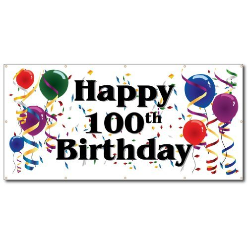VictoryStore Yard Banner Lawn Decorations: Happy 100th Birthday - Measures 4' x 8' Vinyl Banner