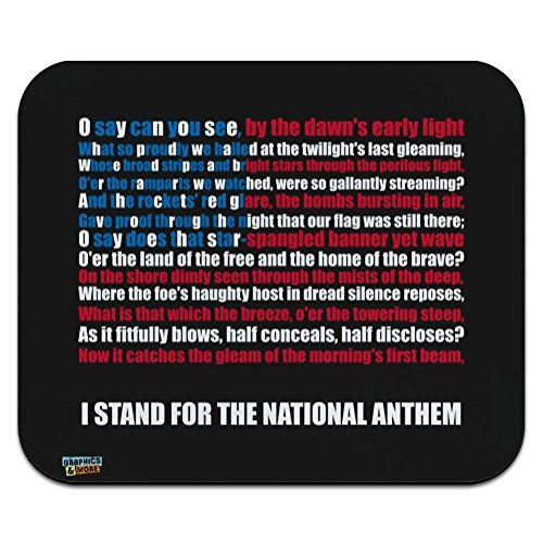 I Stand USA National Anthem Star-Spangled Banner American Flag Patriotic Low Profile Thin Mouse Pad Mousepad