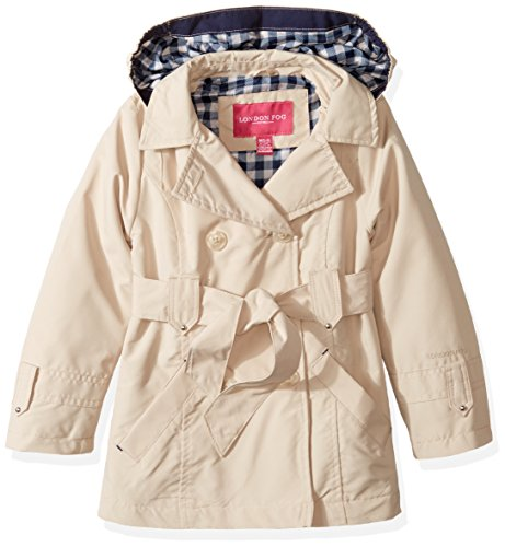 London Fog Girls' Little Double Breasted Belted Trench Coat, Beige with Gingham, 4 ()