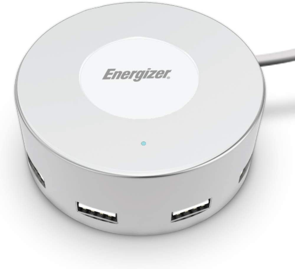 Premier Energizer Ultimate Fast Charging Station Compact Desktop Charger USB Hub 6 Ports White Round 5 ft Power Cord 30W