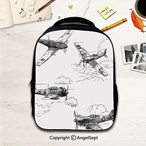 Little Kid Backpacks With Chest Strap,World War Aircraft Army German Pilot Veteran Aggression Historic Vehicle Illustration Decorative 12.2inches,Lightweight Packable Durable Hiking Backpack