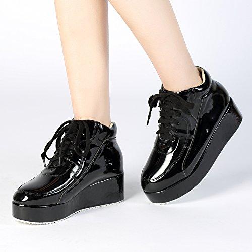 Getmorebeauty Womens Patent Sneakers Plattform Kil Snörning Chelsea Ankel Gymnastikskor Svart