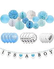 UrbanRed Boy Baby Shower Decorations for Boy, Its A Boy Banner, Baby Boy Balloons, Silver Confetti Balloon, Honeycomb Balls, Lanterns, Pom Poms (Baby Boy)