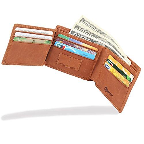 Men's Wallet - RFID Blocking Cowhide Leather Vintage Trifold Wallet