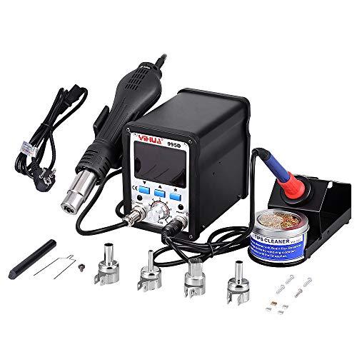 YIHUA Estacion de soldadura 2 en 1 electronica Kit del Soldador Digital con Pistola de Aire Caliente 995D.: Amazon.es: Bricolaje y herramientas