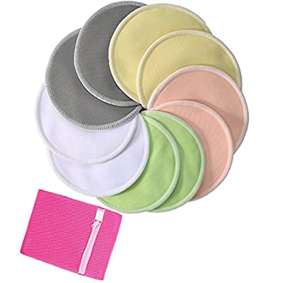Pack of 10 Organic Bamboo Nursing Pads with Laundry Bag, Washable Nursing Pads Breast Pads Breastfeeding Pads - Reusable, Soft, Waterproof, Heavy Leakproof, Breathable and Hypoallergenic by Bassion from Bassion